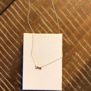Tiny love necklace. Silver and rose gold plated